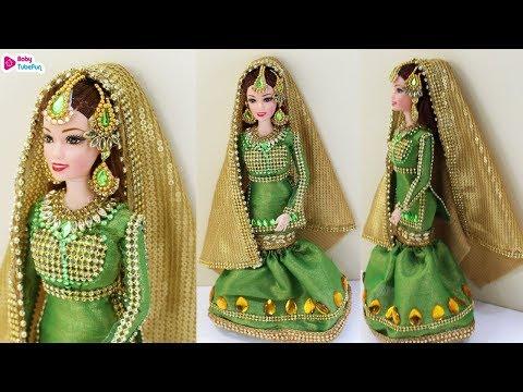 barbie-doll-mermaid-cut-lehenga-|-traditional-muslim-bride-doll-|-indian-barbie-doll-dress/jewelry