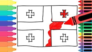 How to Draw Georgia Flag - Drawing the Georgian Flag - Coloring Pages for kids | Tanimated Toys