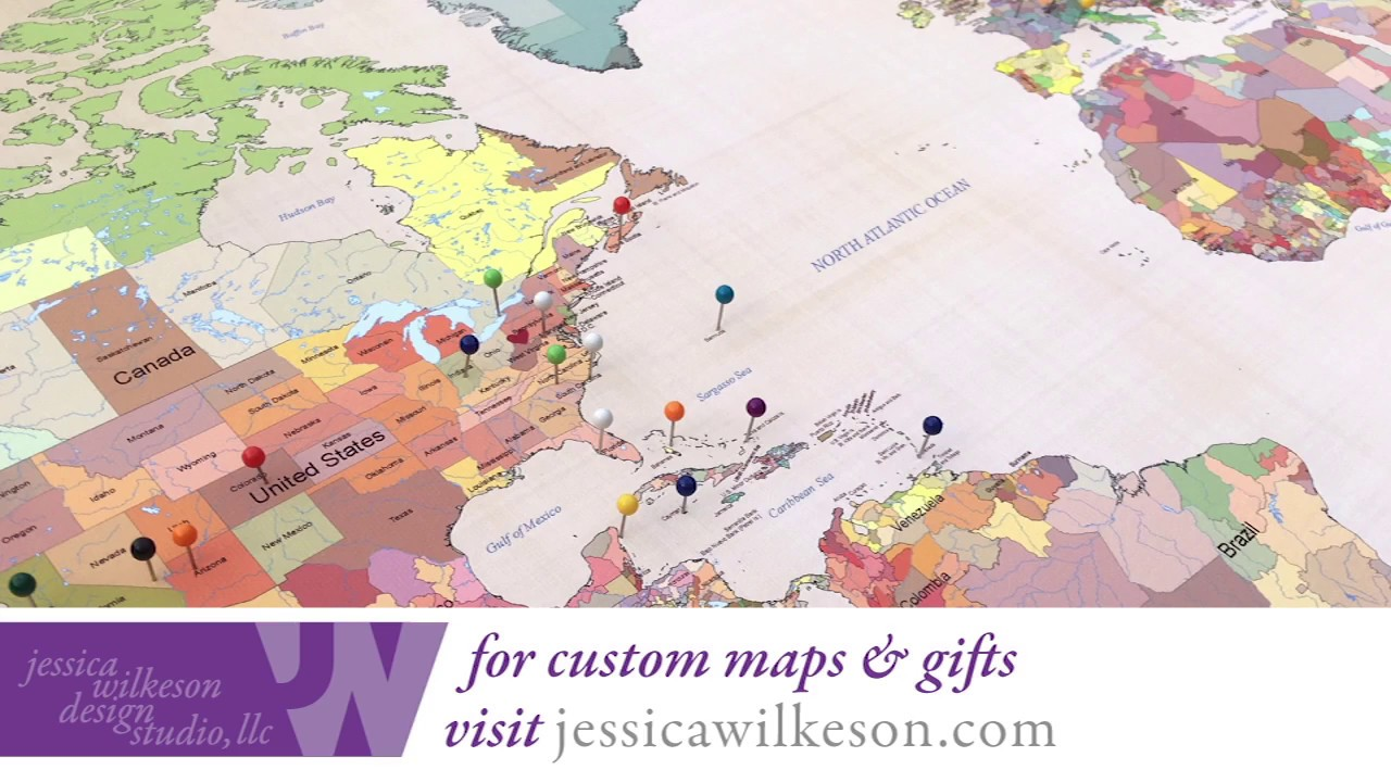 how to frame a push pin world map in 2 minutes cotton anniversary gift for him