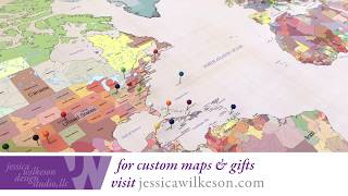 how to frame a push pin world map in 2 minutes! - Cotton Anniversary Gift for him