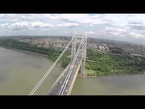 George Washinton Bridge GWB DJI Phantom 2 Drone flyover Gopro