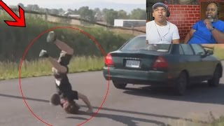 Dad Reacts to 10 Guys Fail Jumping Moving Car! (CRAZY)