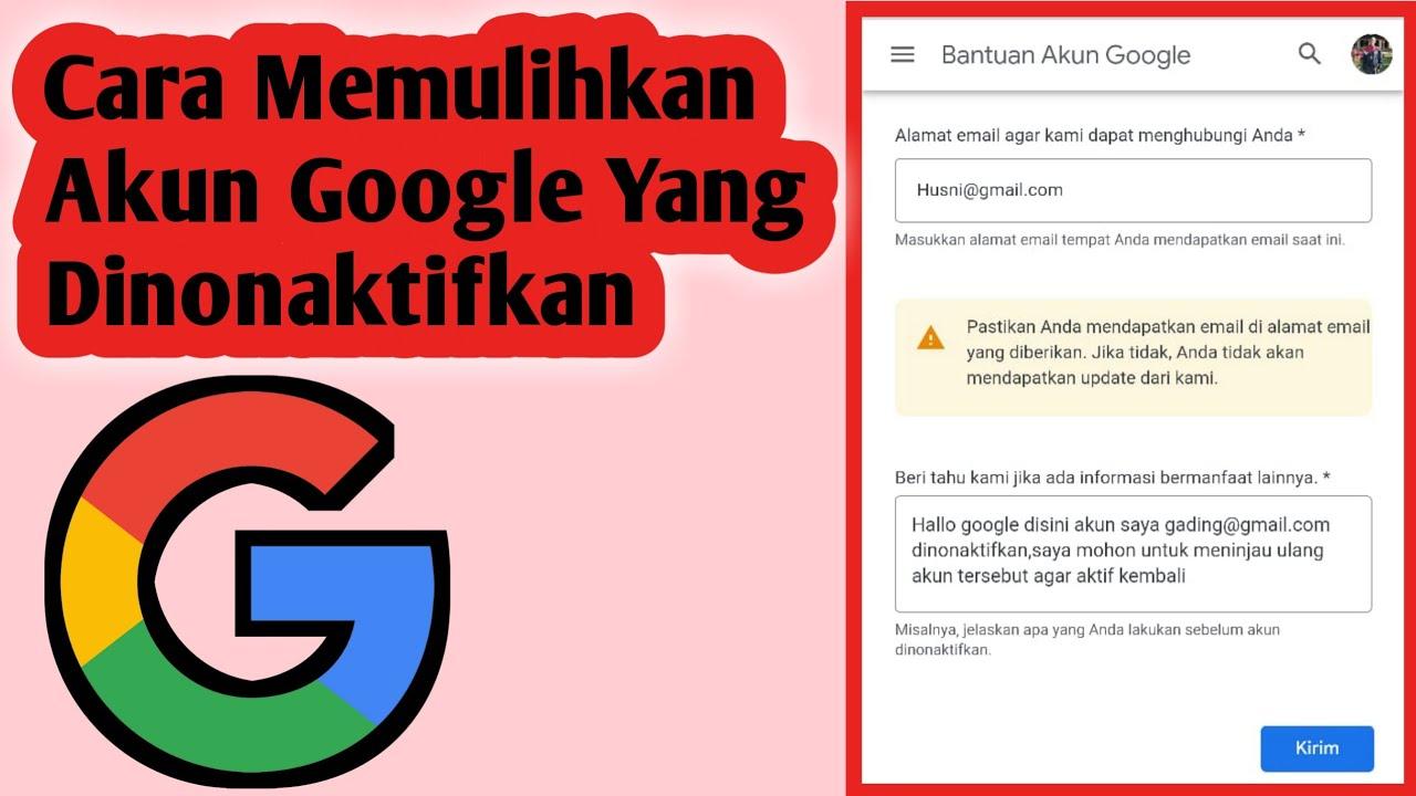 Cara Memulihkan Akun Google Yang Dinonaktifkan Youtube