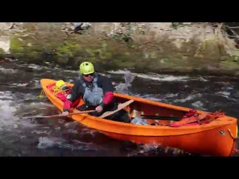 Testing the prototype Afon, a new canoe from Venture Canoes.
