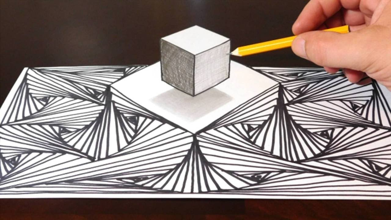 D Line Drawings You Tube : How to draw a d cube on line pattern optical illusion