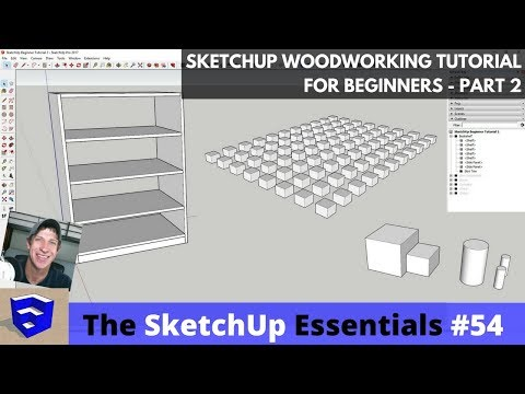 SketchUp Woodworking Tutorial for Beginners Part 2 - Copies,