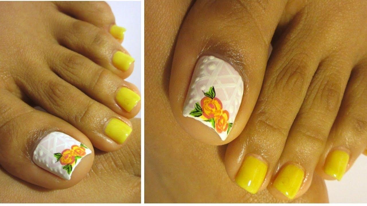 Rosas Faciles Uñas De Los Pies Decoradasroses Design Pedicure Youtube
