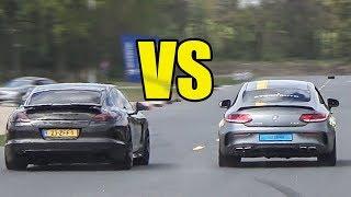Porsche Panamera Turbo S vs Mercedes AMG C63 S vs E63 AMG - DRAG RACE!