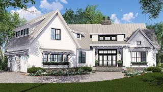 Architectural Designs Modern Farmhouse Plan 14665RK has 2150 sq ft PLUS 733 sq ft bonus space, 4 beds, 3 baths. We have the