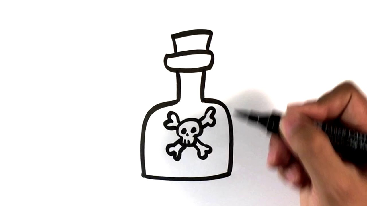 How To Draw A Poison Bottle Halloween Drawings Youtube