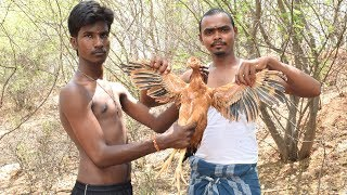 Survival Techniques Two Brothers Cooking and Eating Country Chicken in India