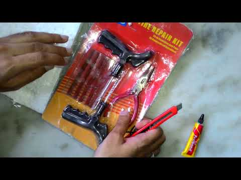 Autosky Best Quality Cars,Bikes with Pasting Solution and Plier Tubeless Tyre Puncture Repair Kit