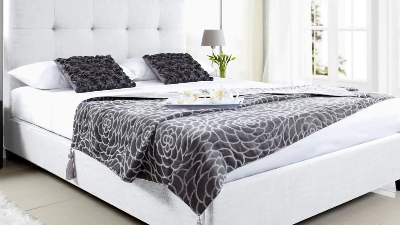 White Double Bed with Storage Drawers Designs - YouTube