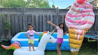 Giant Surprise inflatable Toys with Huge ice cream cone Kids pretend play