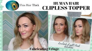 Thin Hair Thick CLIPLESS TOPPER - HUMAN HAIR/LARGER BASE