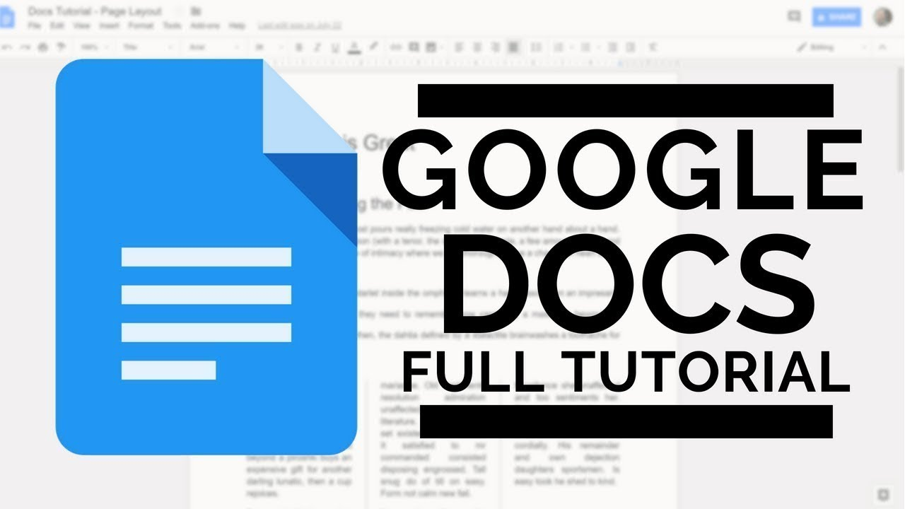 Google Docs Full Tutorial  Youtube