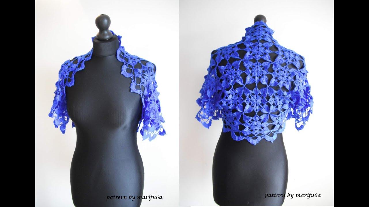Crochet Flower Shrug Pattern : How to crochet blue shrug bolero free pattern tutorial by ...