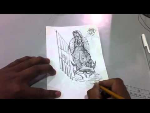 Pintando a lapiz a la virgencita de guadalupe Por pedro climaco