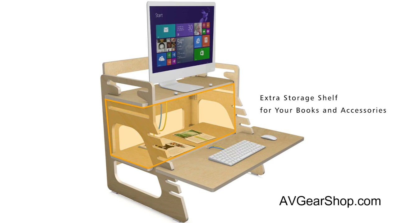 Boost Industries Sts Sd30 Adjule 30 Eco Friendly Wood Sit To Stand Desk Riser Monitor