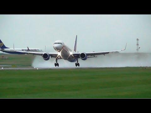 Wet Runway Action At Leeds Bradford Airport, Insane Spray Landings & Take Offs!