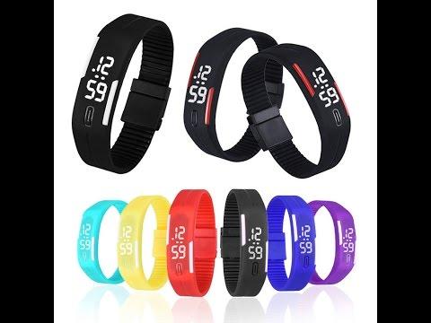 Мужские женские силиконовые электронные LED наручные спортивные часы браслет S16 AliExpress