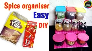 DIY Spice Organiser for kitchen from waste boxes# 3 step spice rack for kitchen# organiser