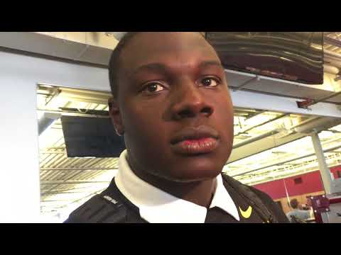 Iowa center James Daniels after Cy Hawk win against Iowa State