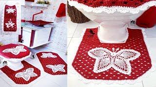 Aprenda a Fazer Jogo de Banheiro em Crochê – Borboletas Aplicadas