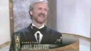 "James Cameron winning an Oscar® for ""Titanic"""