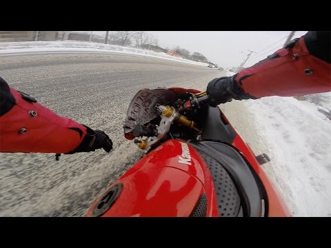 Idiot Crashes Motorcycle in The Snow