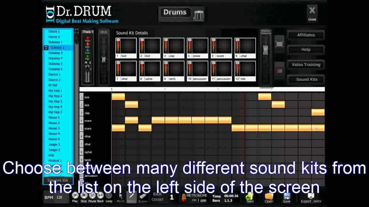 dr drum beat maker software making dubstep beats youtube. Black Bedroom Furniture Sets. Home Design Ideas