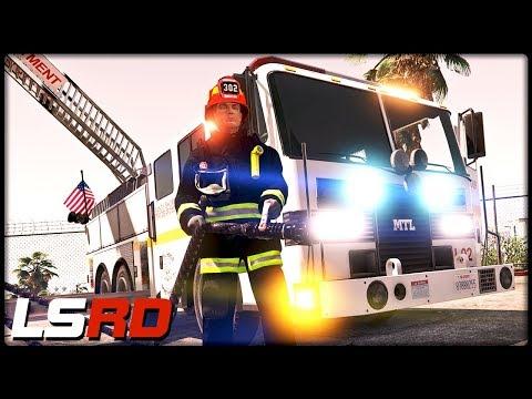 GTA 5 LSRD | Drehleiterfahrzeug im Einsatz - Deutsch - Grand Theft Auto 5 Los Santos Rescue Division thumbnail