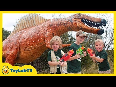 Giant Dinosaurs for Kids at Dinosaur World with Make-A-Wish & Nerf Toys!