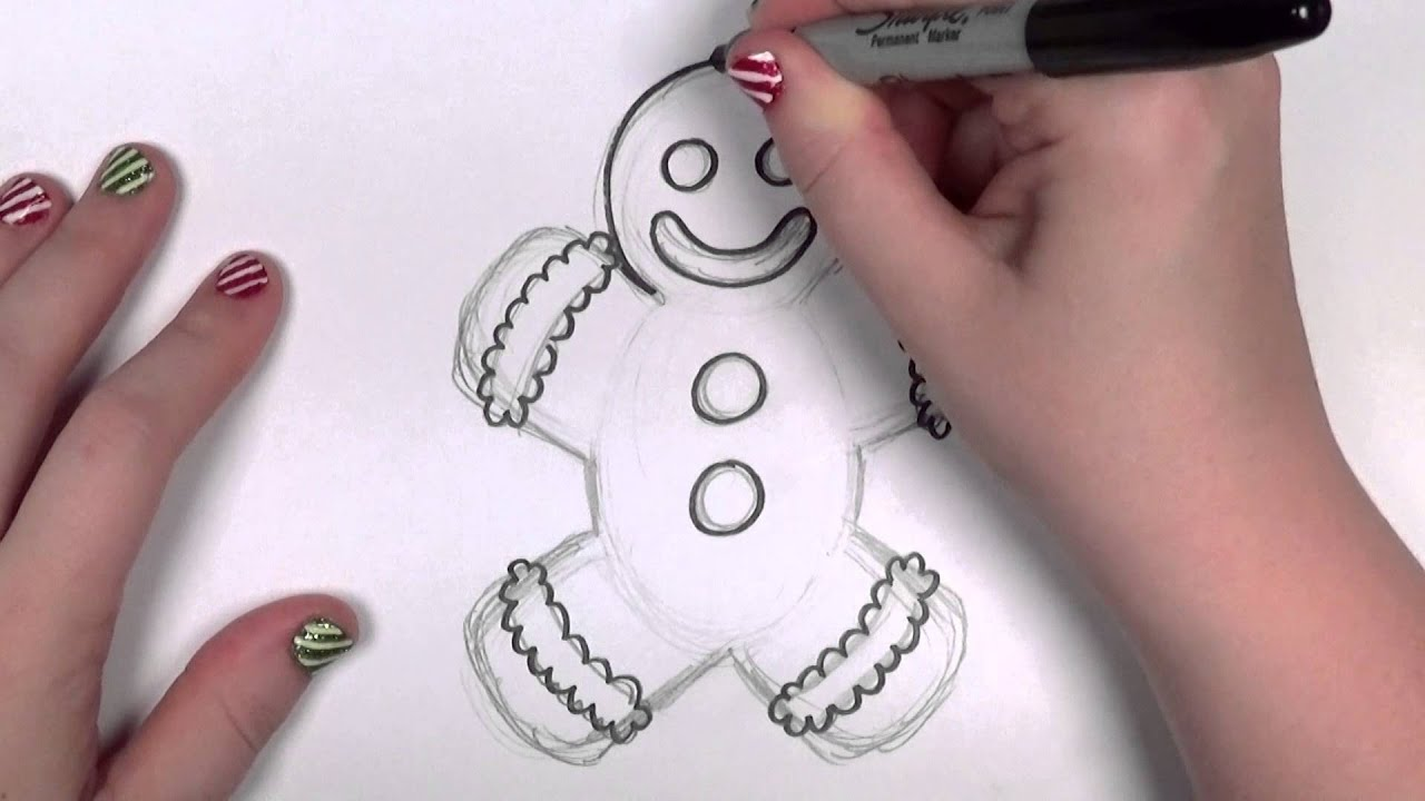 How To Draw A Cartoon Gingerbread Man