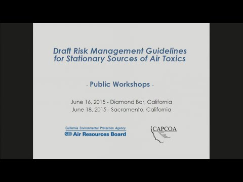 Proposed Risk Management Guidance for Stationary Sources of Air Toxics Workshop