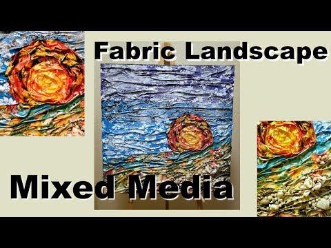 Fabric Beach Landscape Mixed Media Canvas   DIY