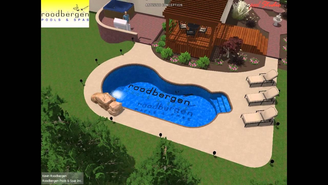 Kidney 3d swimming pool design youtube for 12x24 pool design