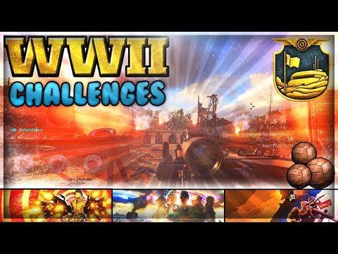 CoD WW2: Headquarters Challenges! (Fall 38ft, Firing Range Sequences, Hidden Gridiron Balls)
