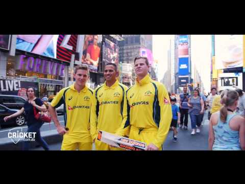 Aussie cricketers hit the Big Apple