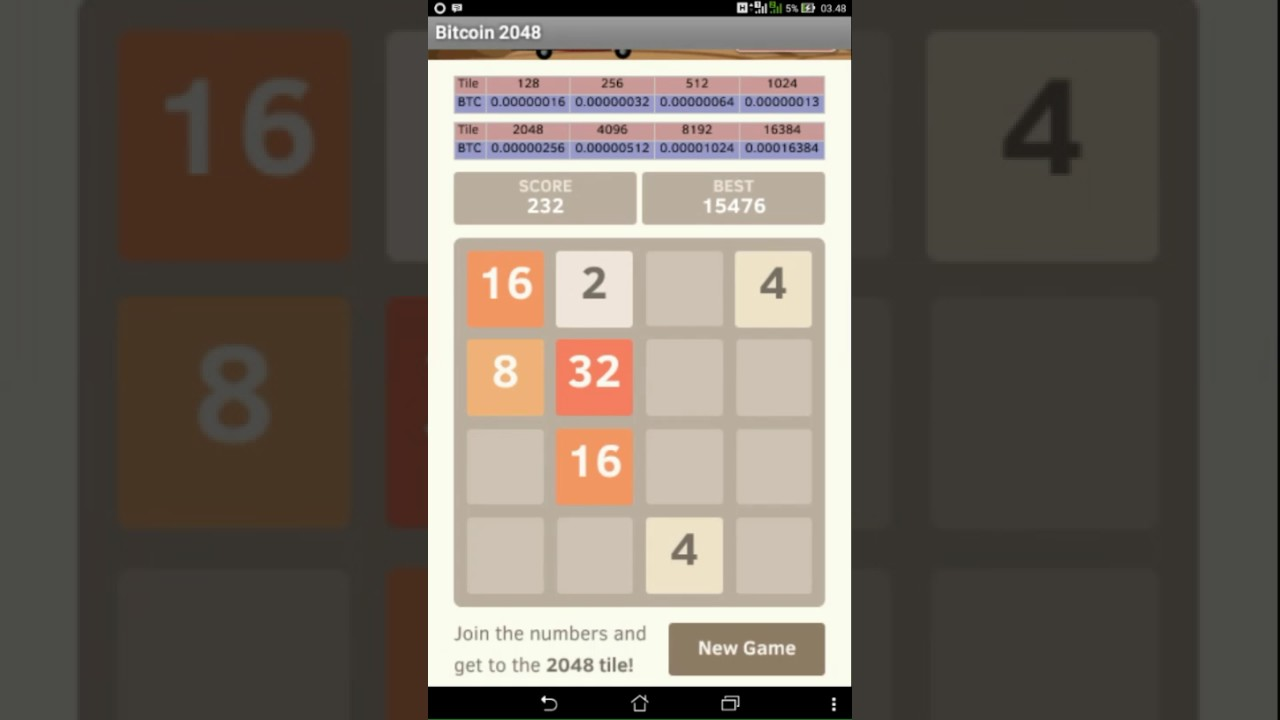 2048 Earn Money Bitcoin Easy Game Simple Fun 50000 Satoshi