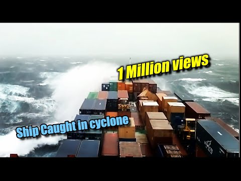 Ship caught in cyclone on Indian Ocean
