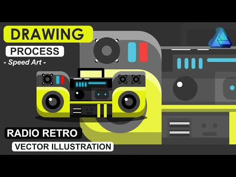 flat icons design - Radio tape vector illustration -  the drawing process in Affinity Designer