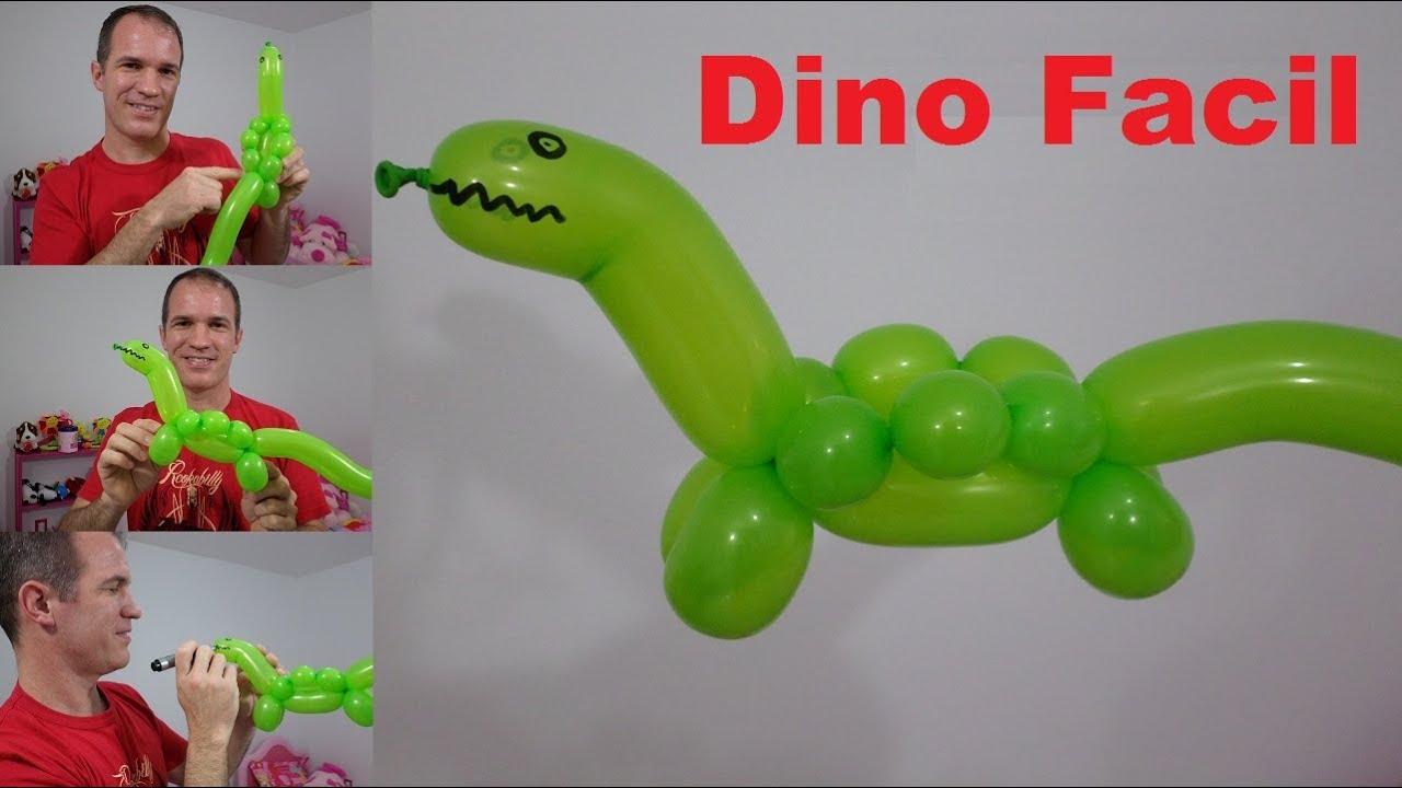 Como hacer un dinosaurio con globos globoflexia facil - Hacer munecos con globos ...