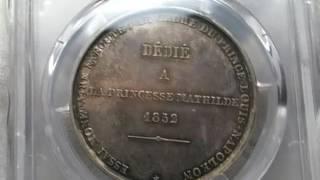 アンティークコイン フランス1852年ナポレオン 試鋳貨シルバー5フラン P...