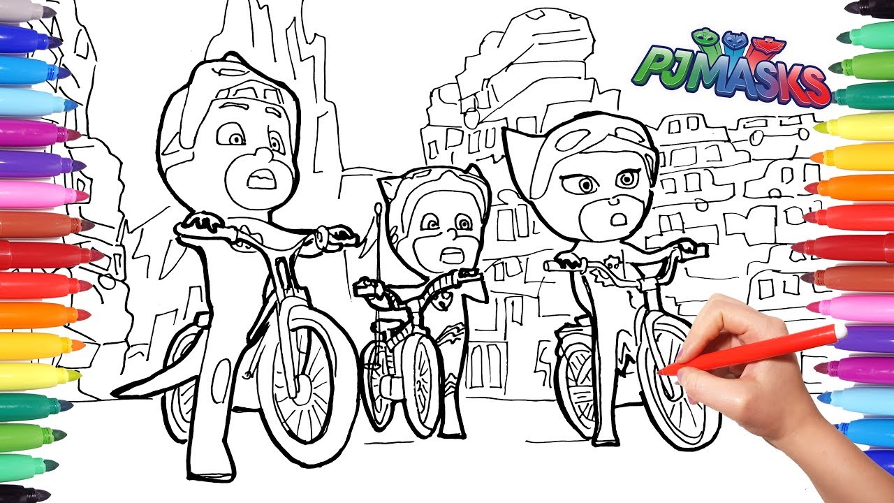 PJ MASKS Coloring Memorable Scene Pages | How To Draw And Color PJ Masks | PJ  Masks On Bicyle