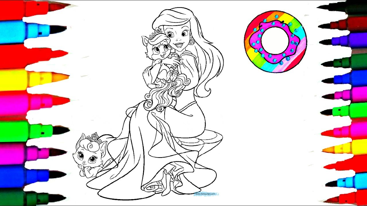 Disney Princess Ariel Pet Coloring Pages L Markers Videos For Children Learn Colors