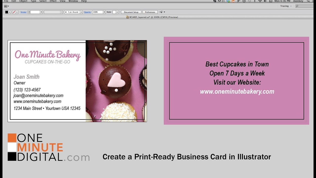 Create A Print Ready Business Card In Adobe Illustrator From Start - Business card print out template