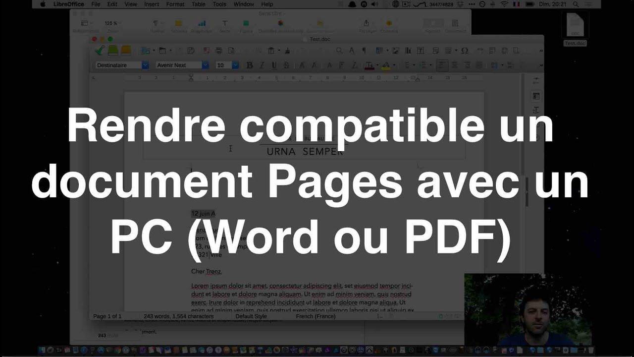 Rendre Compatible Un Document Apple Pages Avec Un Pc Word Ou Pdf