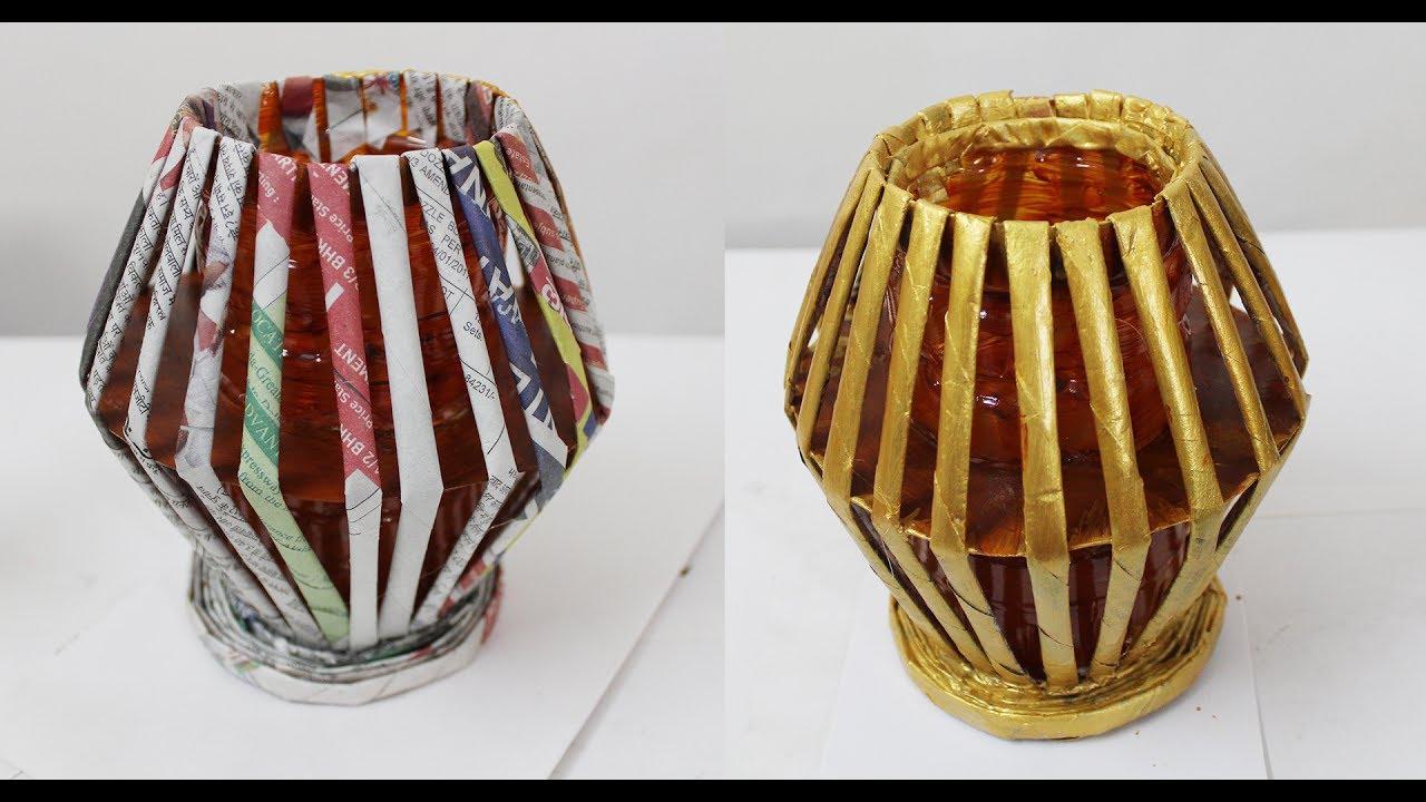Newspaper flower vase diy waste bottle flower pot youtube for Handmade flower vase with waste material