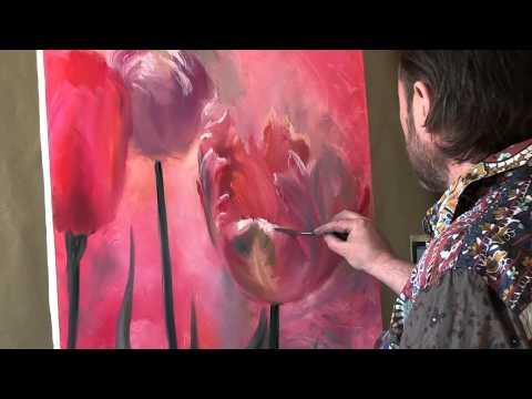 видеоурок рисуем тюльпаны акварелью